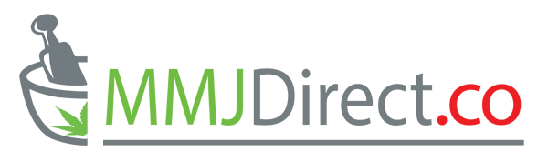 MMJDirect.co Logo Mortise and Pestle with Red and Green Cannabis Leafs