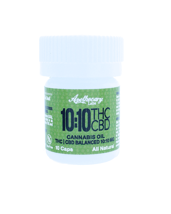 10:10mg CBD & THC Caps in white and green bottle
