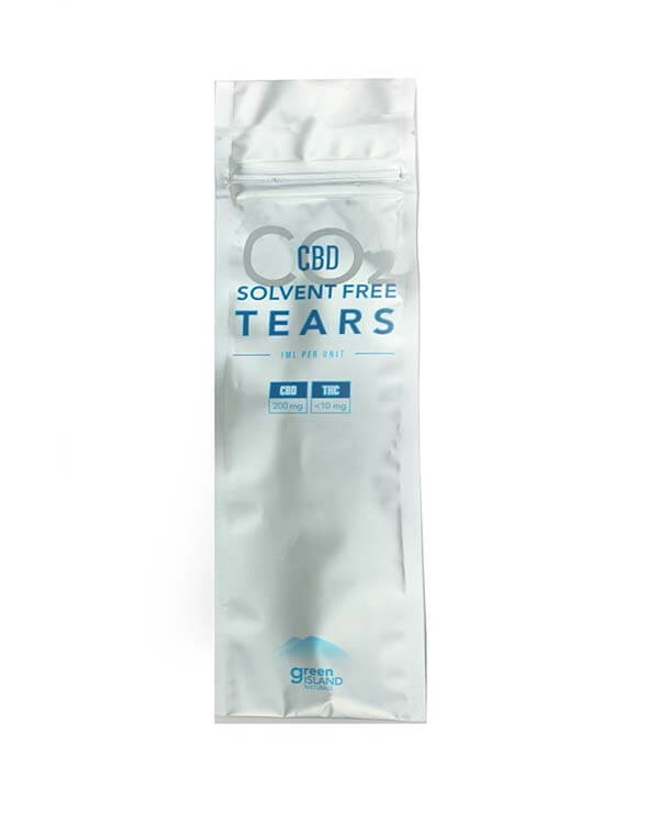 200mg CBD Tears in a silver and blue rectangle package