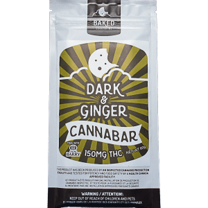 Dark & Ginger Cannabar written on package