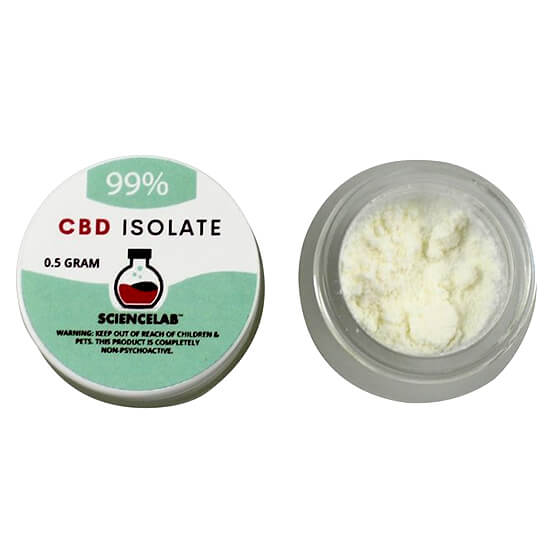 99% CBD Isolate Sciencelab written on small green and white container
