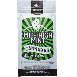 Mile High Mint Cannabar written on a white, green and black package.