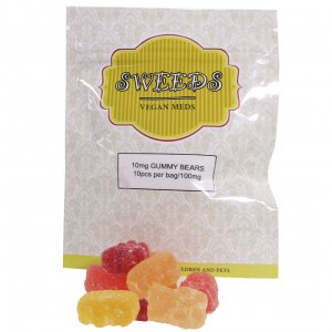 Sweeds THC infused Gummy Bears. 10 pcs infused with 10mg of THC each per bag.