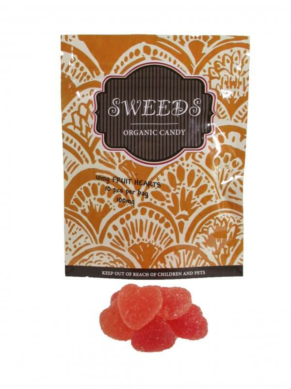 Sweeds THC infused Gummy Fruit hearts. 10 pcs infused with 10mg of THC each per bag.