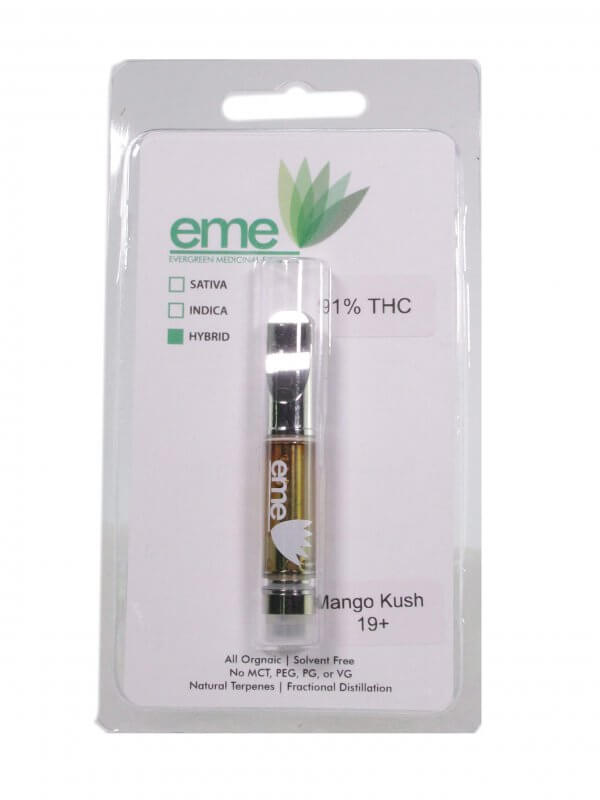 Mango Kush - hybrid. eme distillate vapor cartridge. Just distillate oil and terpenes. 1ml cartridge.