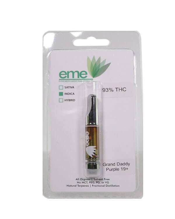 Grand daddy Purps - indica. eme distillate vapor cartridge. Just distillate oil and terpenes. 1ml cartridge.