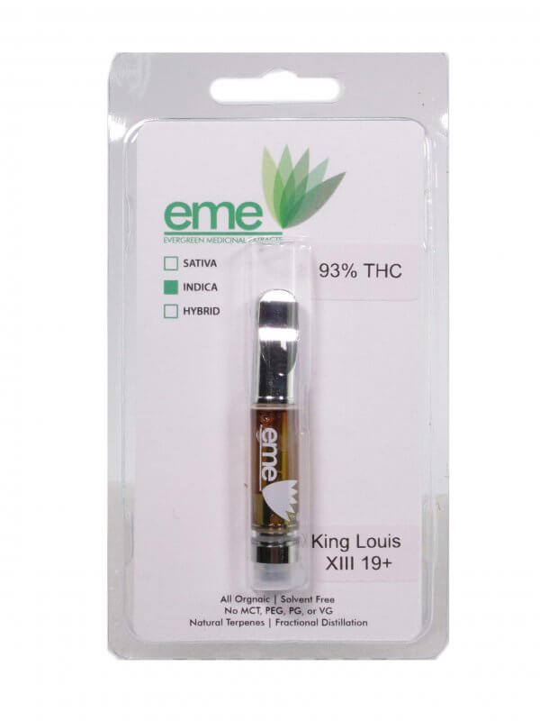 King Louis XIII - indica. eme distillate vapor cartridge. Just distillate oil and terpenes. 1ml cartridge.