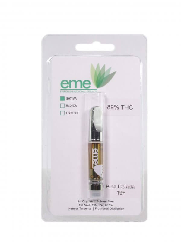 Pina Colada sativa. eme distillate vapor cartridge. Just distillate oil and terpenes. 1ml cartridge.