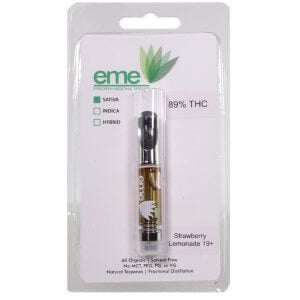 Strawberry Lemonade eme distillate vapor cartridge. Just distillate oil and terpenes. 1ml cartridge.