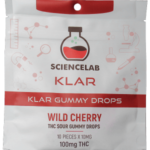 White and red package containing THC Wild Cherry flavoured gummies