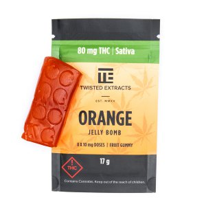 Orange flavor Jelly Bomb by Twisted Extracts with 40mg THC and 40mg CBD
