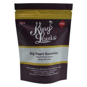 King Louis Big Heart Gummies - each pack contains 6 x 25mg THC pieces