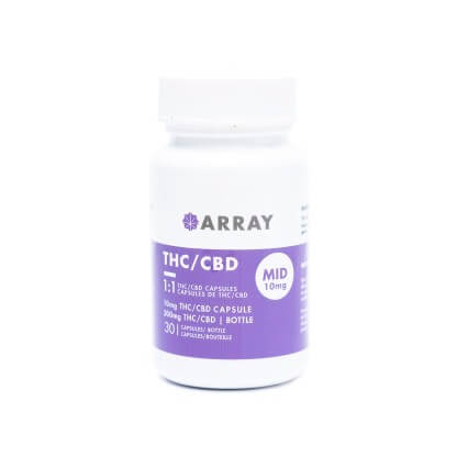 Array 10mg THC + 10mg CBD Caps are great for mild aches, pain, and relaxation