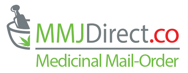 MMJDirect.ca Logo Mortise and Pestle with Red and Green Cannabis Leafs
