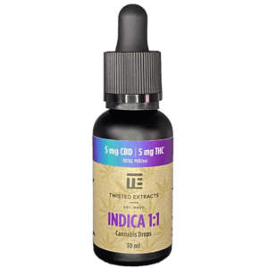 Twisted Extracts Indica 1:1 Tincture containing 150mg of CBD and THC